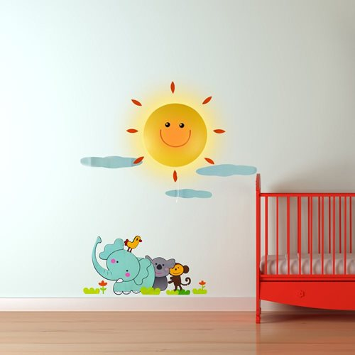 LED Lamp with Wall Sticker Sunshine