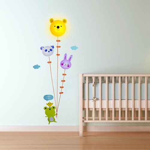LED Lamp with Wall Sticker Animal Height Chart