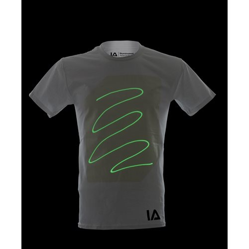 IA Interaktives Glow T-Shirt Super Grün - Weiß (L)