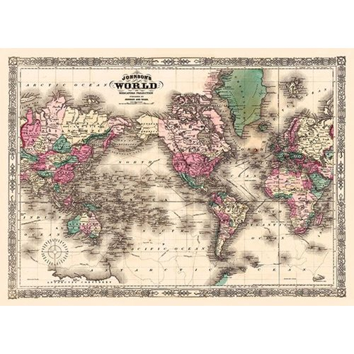 Exclusive Edition Tapijt Johnson's World - Mercator Projectie - Wereldkaarten