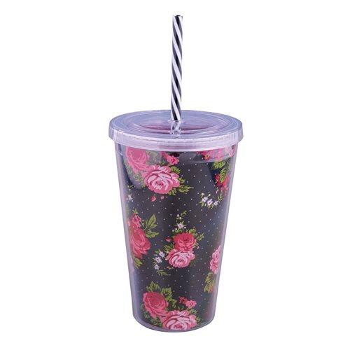 Uatt Glas mit Strohhalm - Blumen