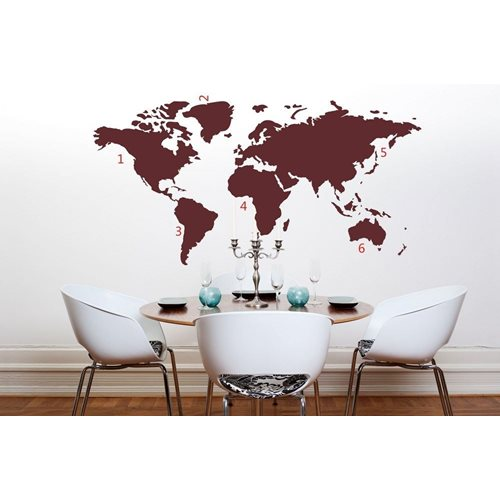 United Entertainment World Map Wall Sticker - Red
