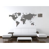 United Entertainment World Map Wall Sticker - Grey