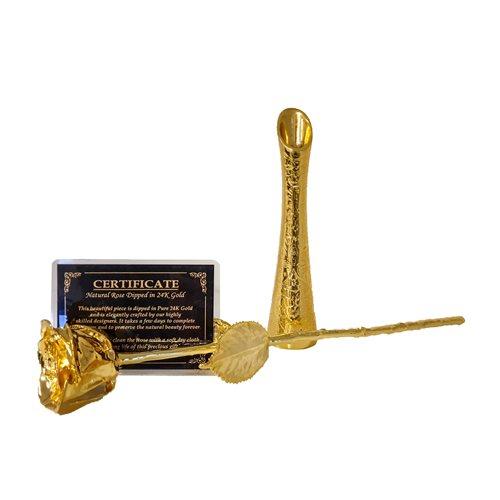 United Entertainment Goldene Rose mit Goldener Vase in roter Samtboy