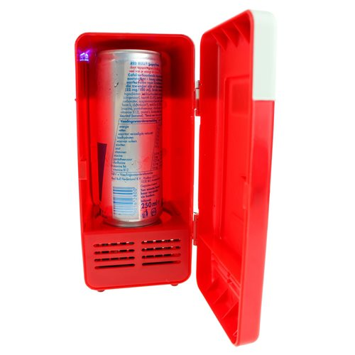 United Entertainment USB Desktop Fridge with LED Light - Red