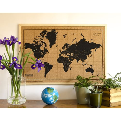 Milimetrado - World Map Corkboard - with Wooden Frame - Natural/Black - 70x50 cm