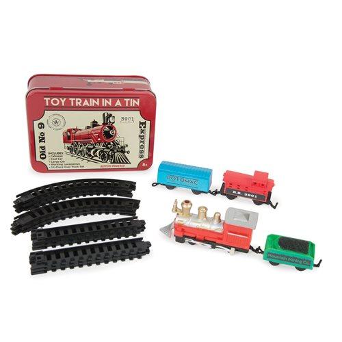 Spielzeug Zug in einer Dose