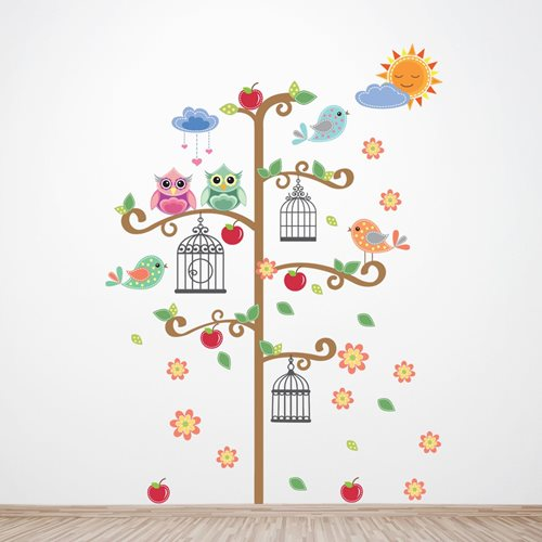 Walplus Kids Decoratie Sticker - Boom met Vogelkooi