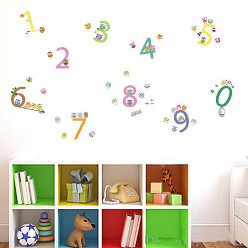 Walplus Kinder Dekoration Wandaufkleber - Zahlen mit Eulen