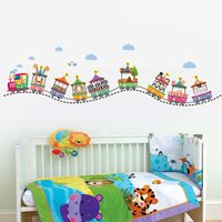 Walplus Kids Decoratie Sticker - Circus Trein met Dieren en Nummers