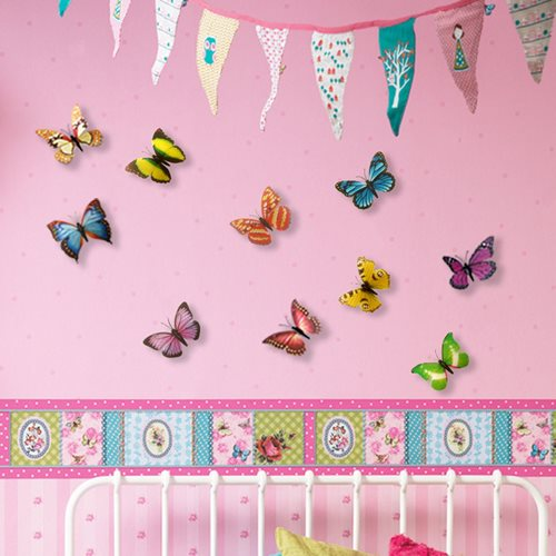 Walplus 3D Decoration Sticker - 3D Butterflies Colourful
