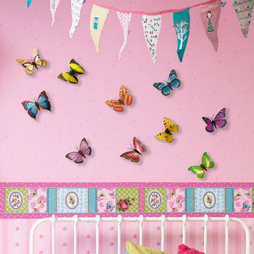 Walplus 3D Dekoration Wandaufkleber - 3D Schmetterlinge Farbig
