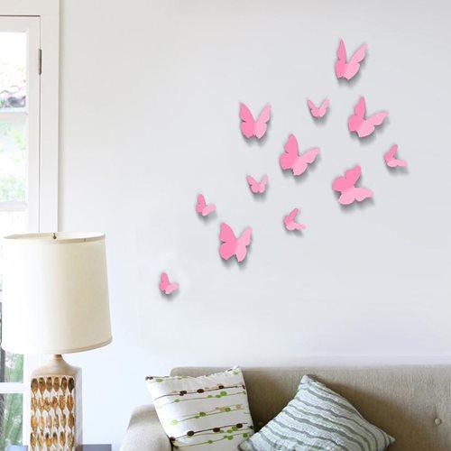 Walplus 3D Dekoration Wandaufkleber - 3D Schmetterlinge Rosa