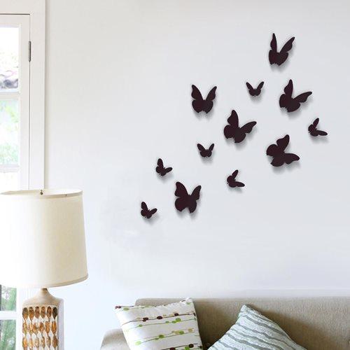 Walplus 3D Dekoration Wandaufkleber - 3D Schmetterlinge Schwarz