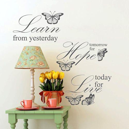 Walplus Wandgemälde Art Aufkleber - Learn Live Hope Zitat