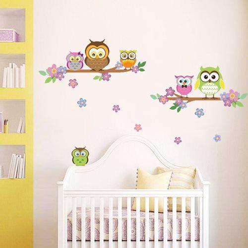 Walplus Kids Decoration Sticker - Owl Flower Tree