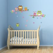 Walplus Kids Decoratie Sticker - Uil Bloem Boom