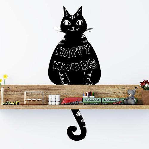Walplus Tafel Dekoration Wandaufkleber - Katze Schwarz
