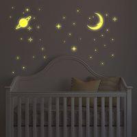Walplus Glow in the Dark Decoratie Sticker - Maan en Sterren