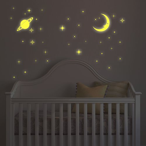 Walplus Glow in the Dark Decoratie Sticker - Maan en Sterren