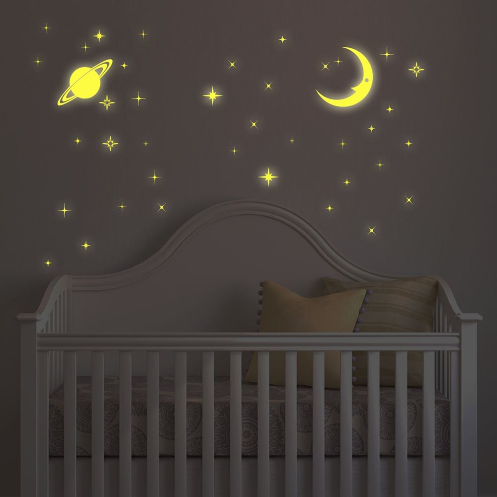 Walplus Glow in the Dark Decoration Sticker - Moon & Stars