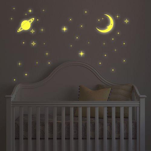 Walplus Glow in the Dark Dekoration Wandaufkleber - Mond und Sterne