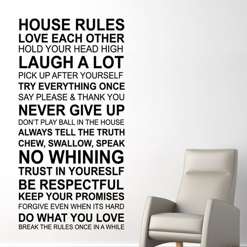 Walplus Wall Mural Decoration Sticker - House Rules Quote (ENG)
