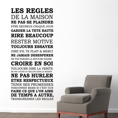 Walplus Wall Mural Decoration Sticker - House Rules Quote (FR)