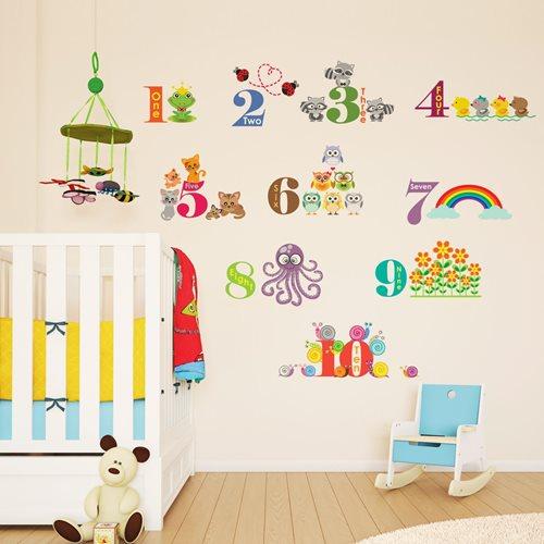Walplus Kinder Dekoration Wandaufkleber - Zahlen mit Tieren