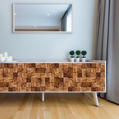 Walplus Wandgemälde Art Aufkleber - Holzquadrat