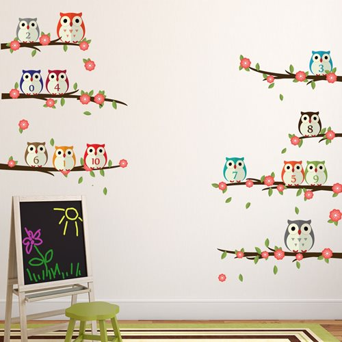 Walplus Kids Decoration Sticker - Owls with Numbers