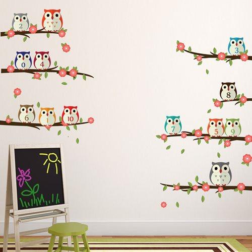 Walplus Kinder Dekoration Wandaufkleber - Eulen mit Zahlen