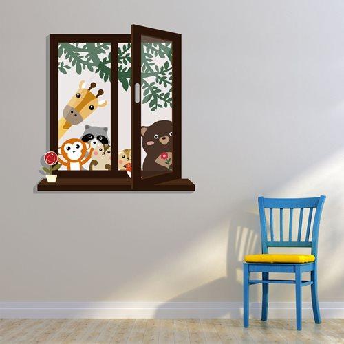 Walplus Kinder Dekoration Wandaufkleber - Fensterblick mit Tierfreunde