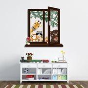 Walplus Kids Decoration Sticker - Window View of Animal Friends