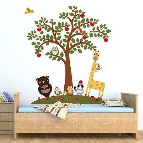 Walplus Kids Decoration Sticker - Animal Friends and Apple Tree