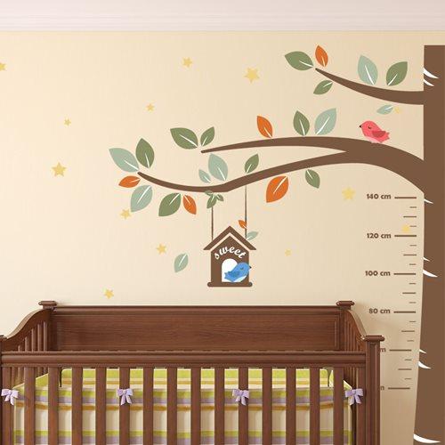 Walplus Kids Decoratie Sticker - Groeimeter Boom met Vogels