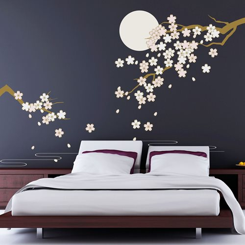 Walplus Home Decoration Sticker - Cherry Blossom Under Moonlight