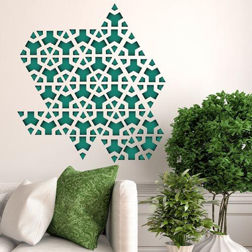 Walplus Home Decoratie Sticker - Groene Driehoek Geometrisch Patroon