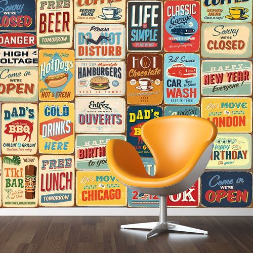 Walplus Wall Mural Decoration Sticker - Vintage Metal Sign