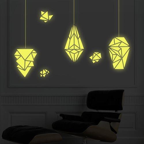 Walplus Glow in the Dark Dekoration Wandaufkleber - Geometrische Lampen