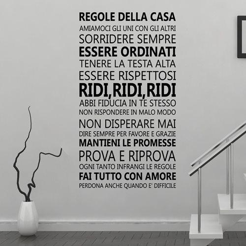 Walplus Wandgemälde Art Aufkleber - Hausregeln Zitat (IT)