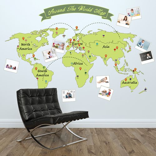 Walplus Home Decoration Sticker - Around the world Map