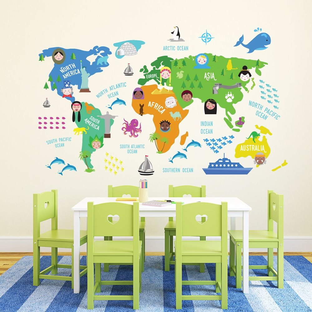 Walplus Kids Decoration Sticker - Childrens World Map