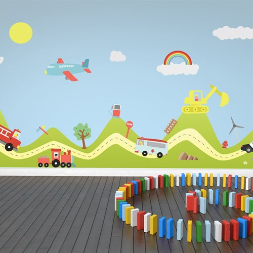 Walplus Kids Decoration Sticker - Hill with Transport Cars