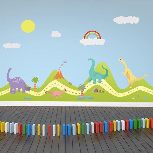 Walplus Kids Decoratie Sticker - Heuvel met Dino's