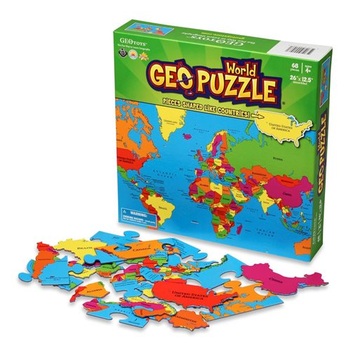 GeoPuzzle Wereld 68 stukjes (ENG)