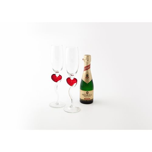 Champagne Glass with Red Heart - Set of 2