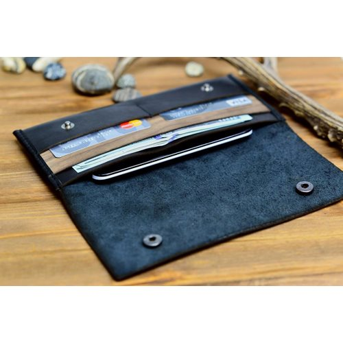 Walt Continental Wallet - Genuine Leather - Black Button