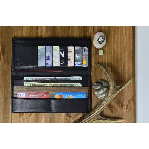 Walt Continental Wallet - Genuine Leather - Black