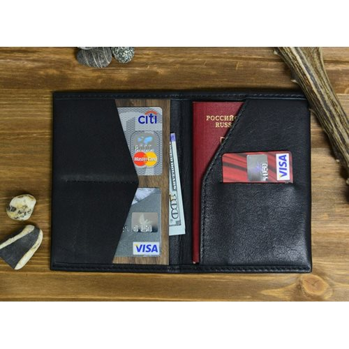 Walt RFID Passport Wallet - Genuine Leather – Black